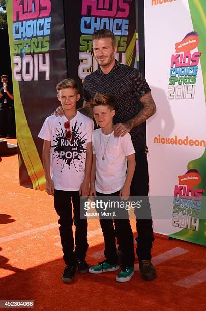 Former professional soccer player David Beckham and children Romeo James Beckham and Cruz David Beckham attends Nickelodeon Kids' Choice Sports...