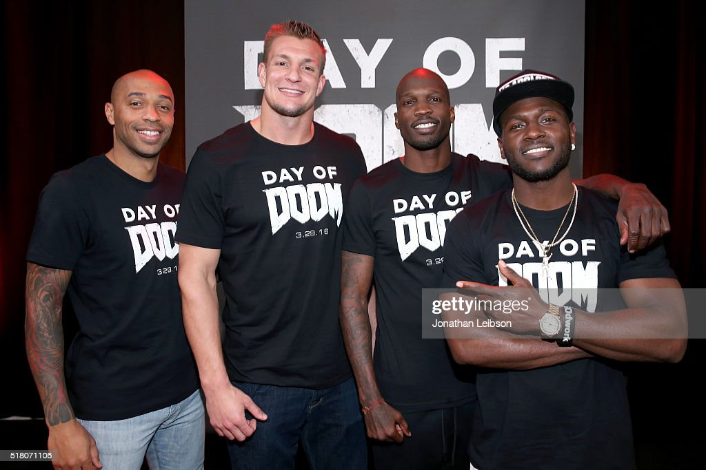Former professional soccer player Thierry Henry, NFL player Rob Gronkowski, former NFL player Chad 'Ochocinco' Johnson, and NFL player Antonio Brown attend as athletes and YouTube stars team for DOOM Videogame Tournament at Siren Studios on March 29, 2016 in Hollywood, California.