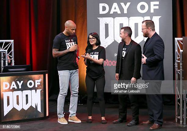 Former professional soccer player Thierry Henry YouTube influencer SSSniperWolf and hosts Tyler Coe and Jack Pattillo attend as athletes and YouTube...