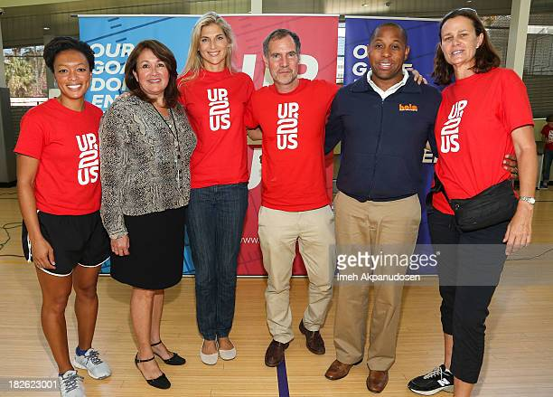 Former professional soccer player/Up2Us member Angela Hucles Department of Recreation and Parks East District Supervisor Veronica Rodriguez former...