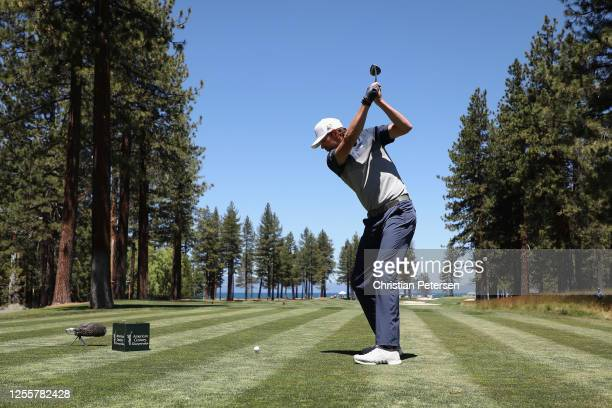 Former professional tennis athlete Mardy Fish plays a tee shot on the ninth hole during the final round of the American Century Championship at...