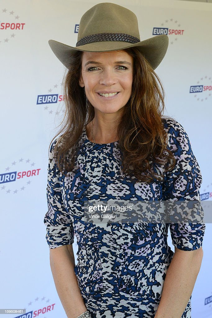 Former professional tennis player and current radio and television presenter Annabel Croft wearing an Akubra Hat during the Eurosport tennis panel of experts at Hilton on the Park on January 15, 2013 in Melbourne, Australia.