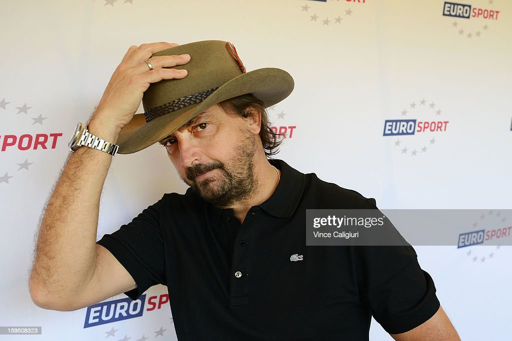 Former professional tennis player and legend Henri Leconte wearing an Akubra Hat during the Eurosport tennis panel of experts at Hilton on the Park on January 15, 2013 in Melbourne, Australia.