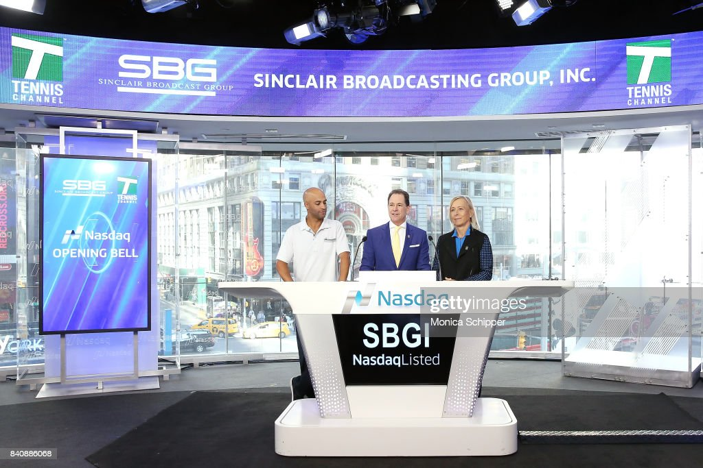 Former professional tennis player and on-air analyst James Blake, Chairman & CEO at Tennis Channel Ken Solomon, and former professional tennis player and on-air analyst Martina Navratilov ring the Nasdaq Stock Market Opening Bell at NASDAQ MarketSite on August 30, 2017 in New York City.