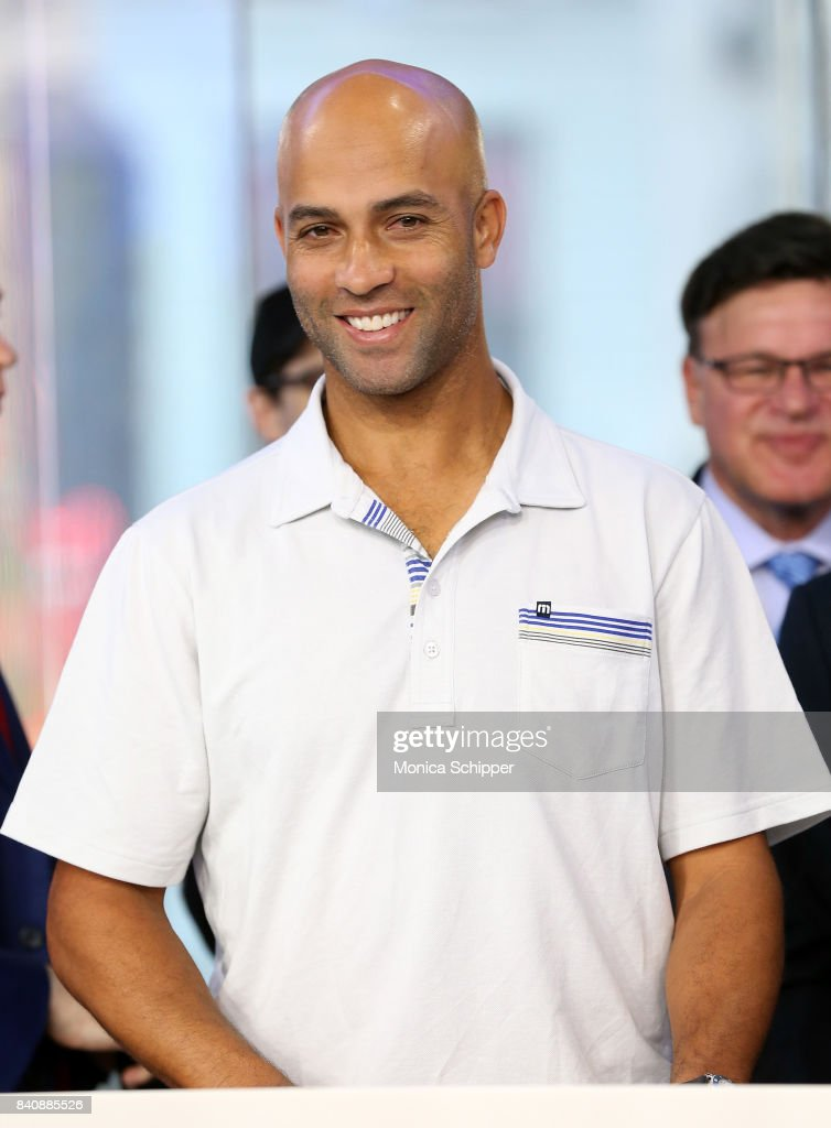 Former professional tennis player and on-air analyst James Blake rings the Nasdaq Stock Market Opening Bell at NASDAQ MarketSite on August 30, 2017 in New York City.