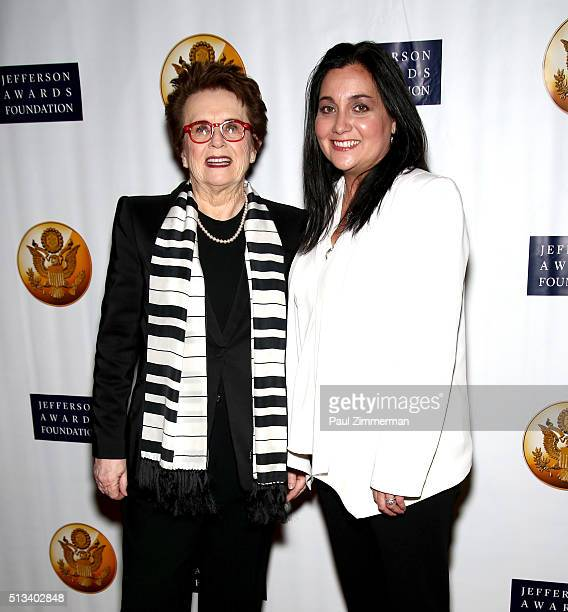 Former professional tennis player Billy Jean King and Executive Vice President of Global Employee Success Cindy Robbins attend the 5th Annual...