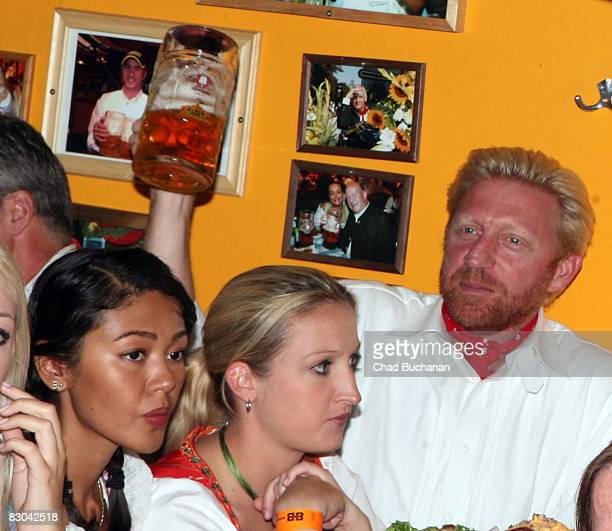 Former professional tennis player Boris Becker at the Hippodrom beer tent during day 8 of the Oktoberfest beer festival on September 28 2008 in...