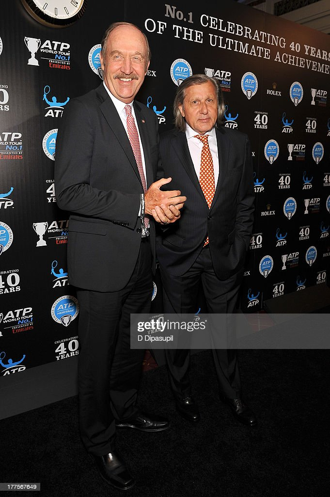 Former professional tennis player Ilie Nastase (R) attends the ATP Heritage Celebration at The Waldorf=Astoria on August 23, 2013 in New York City.