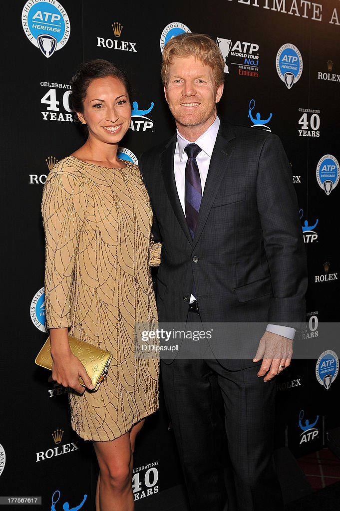 Former professional tennis player Jim Courier (R) and wife Susanna Lingman attend the ATP Heritage Celebration at The Waldorf=Astoria on August 23, 2013 in New York City.