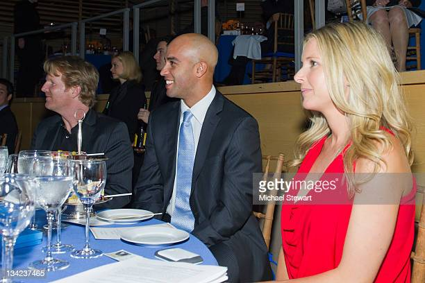 Former professional tennis player Jim Courier tennis player James Blake and fiance Emily Snider attend James Blake's Serving for a Cure Charity event...