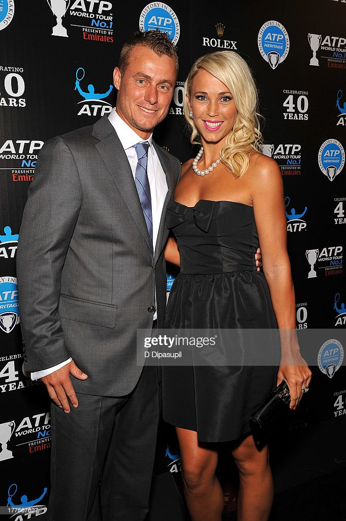 Former professional tennis player Lleyton Hewitt (L) and wife Bec Hewitt attend the ATP Heritage Celebration at The Waldorf=Astoria on August 23, 2013 in New York City.