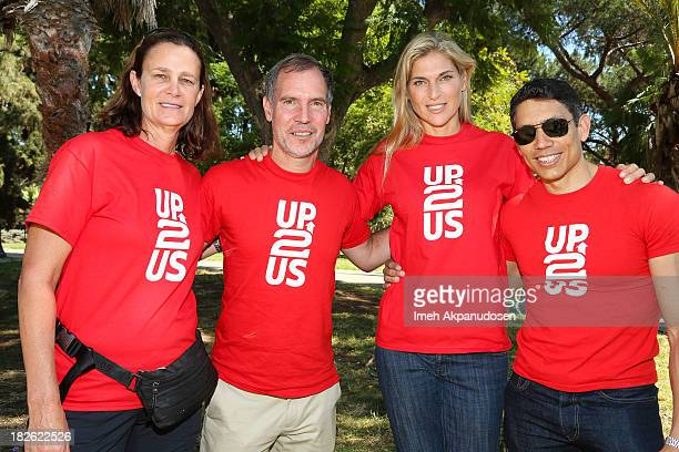 Former professional tennis player Pam Shriver Up2Us's Paul Caccamo professional volleyball player Gabrielle Reece and Up2Us Marketing Communications...
