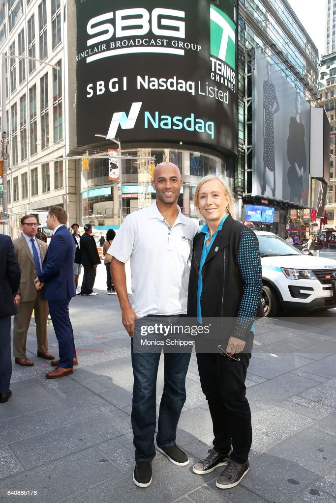 Former professional tennis players and on-air analysts James Blake (L) and Martina Navratilov ring the Nasdaq Stock Market Opening Bell at NASDAQ MarketSite on August 30, 2017 in New York City.