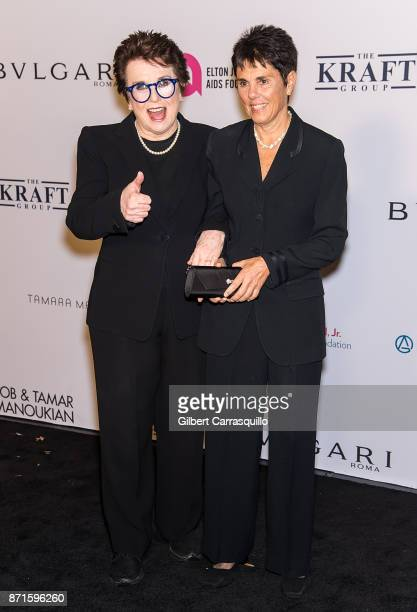 Former professional tennis players Billie Jean King and Ilana Kloss attend Elton John AIDS Foundation Commemorates Its 25th Year And Honors Founder...