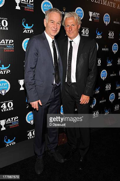 Former professional tennis players John McEnroe and Bjorn Borg attend the ATP Heritage Celebration at The Waldorf=Astoria on August 23 2013 in New...