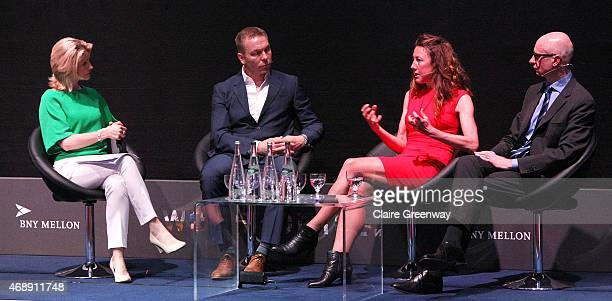 Former professional triathlete and fourtime Ironman Triathlete World Champion Chrissie Wellington speaks during a panel discussion with Sir Chris Hoy...