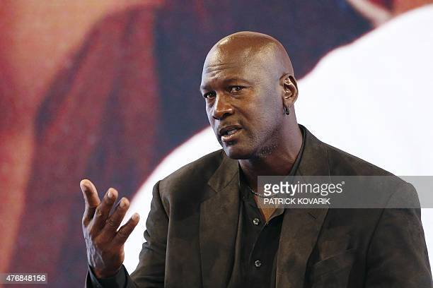 Former professional US basketball player Michael Jordan delivers a press conference at the Palais de Tokyo in Paris on June 12, 2015 to present...