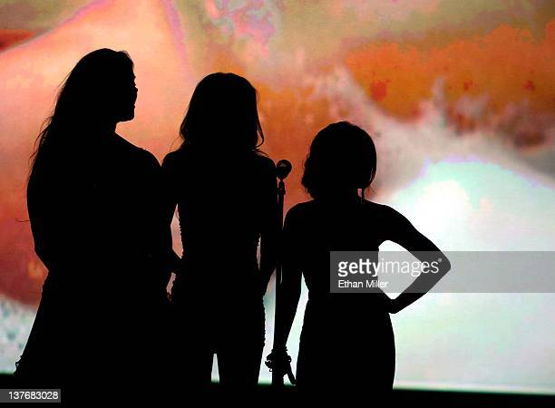 Former professional wrestler and adult film actress Chyna and adult film actresses Riley Steele and Kaylani Lei are silhouetted onstage as they...