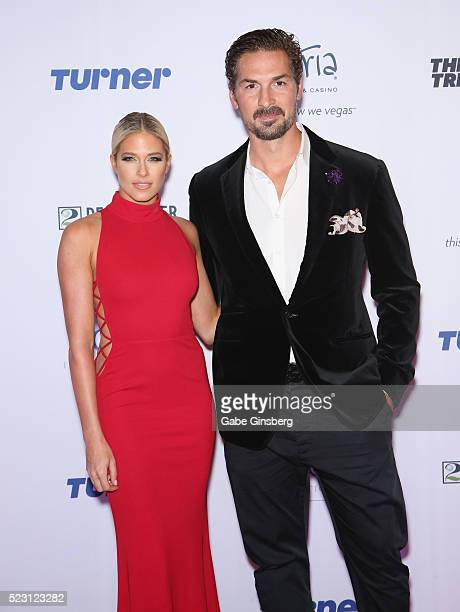Former professional wrestler and model Barbie Blank Souray and her husband former NHL player Sheldon Souray attend the Derek Jeter Celebrity...