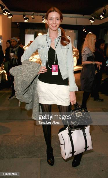 Former Project Runway Model Amanda Fields attends MercedesBenz Fashion Week Fall 2008 at Bryant Park February 4 2008 in New York City