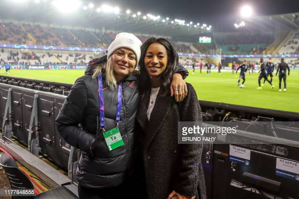 Former PSG player Laure Boulleau and PSG's Thomas Meunier's girlfriend Deborah Panzokou pictured before a soccer game between Belgian team Club...