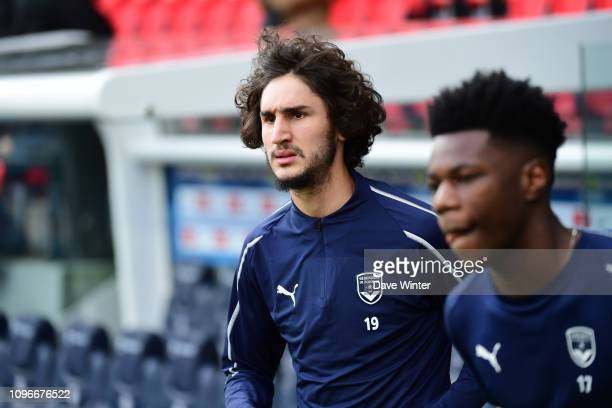 Former PSG youth team player Yacine Adli of Bordeaux and Aurelien Tchouameni of Bordeaux come out to warm up before the Ligue 1 match between Paris...