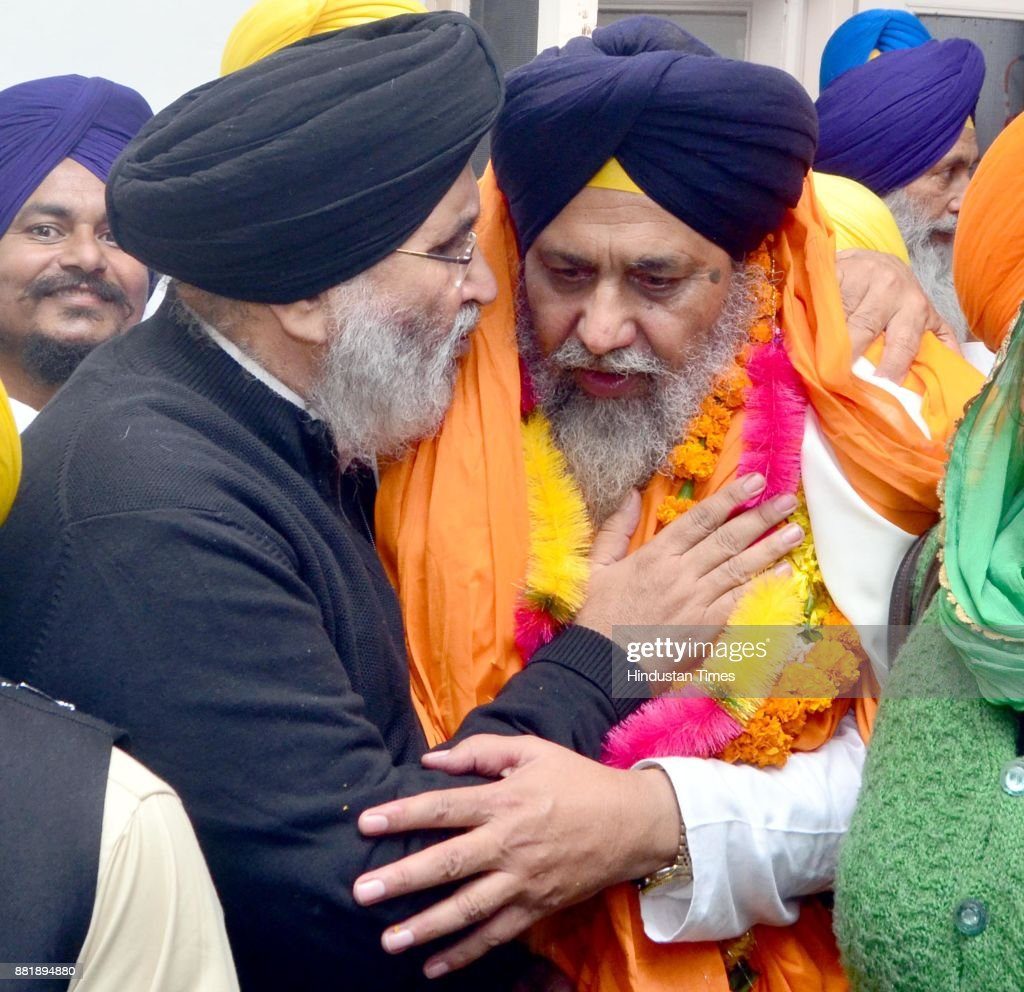 former Punjab cabinet Minister and Senior SAD leader Daljeet Singh Cheema with newlyelected SGPC president Gobind Singh Longowal at Teja Singh...