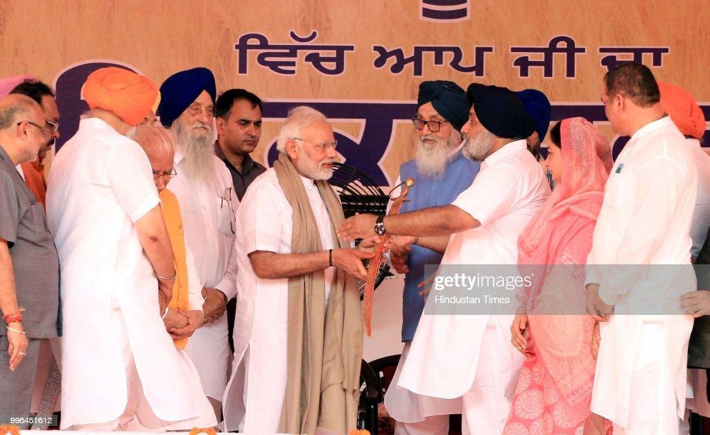 Former Punjab Chief Minister Parkash Singh Badal SAD President Sukhbir Singh Badal and Minister of Food Processing Industries is Harsimrat Kaur Badal.