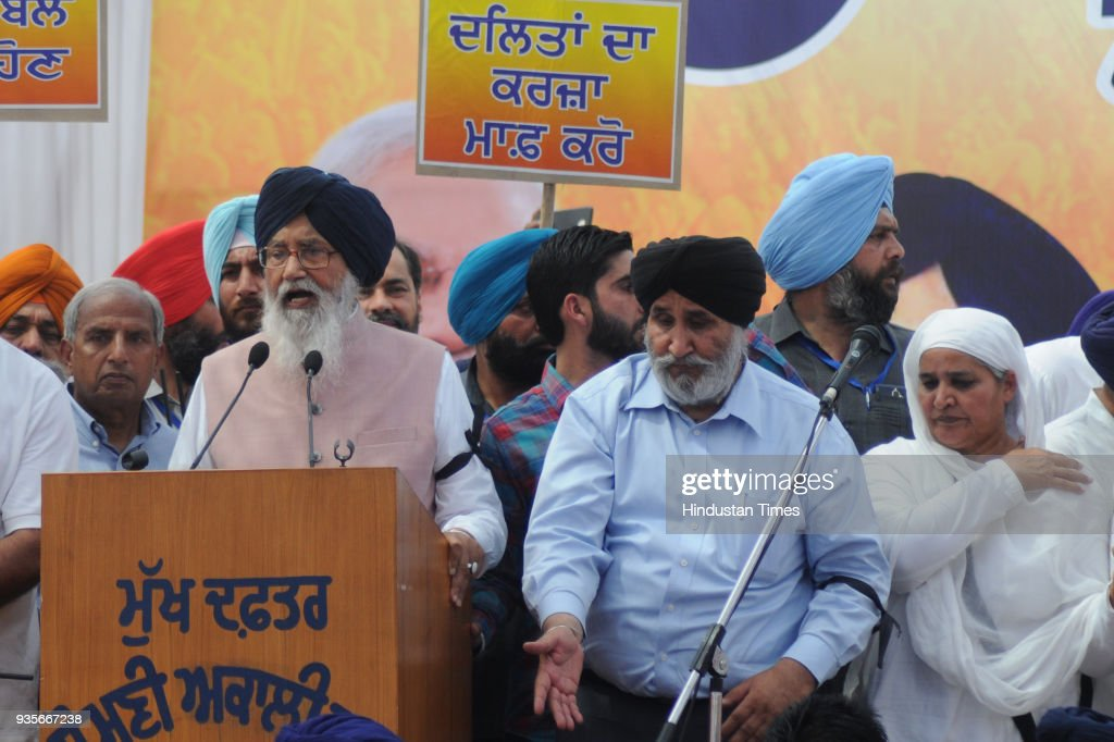 Former Punjab Chief Minister Punjab Prakash Singh Badal addresses during Shiromani Akali Dal rally against Punjab`s Congress Government at Rally...