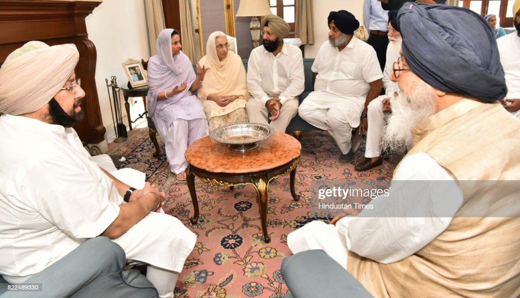 Former Punjab CM and Deputy CM Parkash Singh Badal and Sukhbir Singh Badal offering condolences to Punjab Chief Minister Captain Amarinder Singh on...
