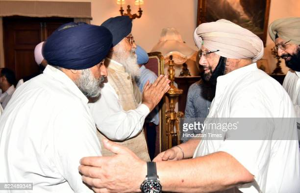 Former Punjab CM and Deputy CM Parkash Singh Badal and Sukhbir Singh Badal offering condolences to Punjab Chief Minister Captain Amarinder Singh on...