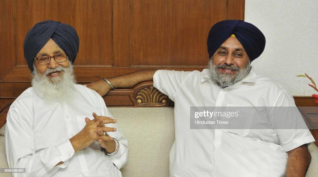 Former Punjab CM Parkash Singh Badal and Sukhbir Singh Badal addressing media persons in Speaker office at Punjab Vidhan Sabha on March 27 2017 in...