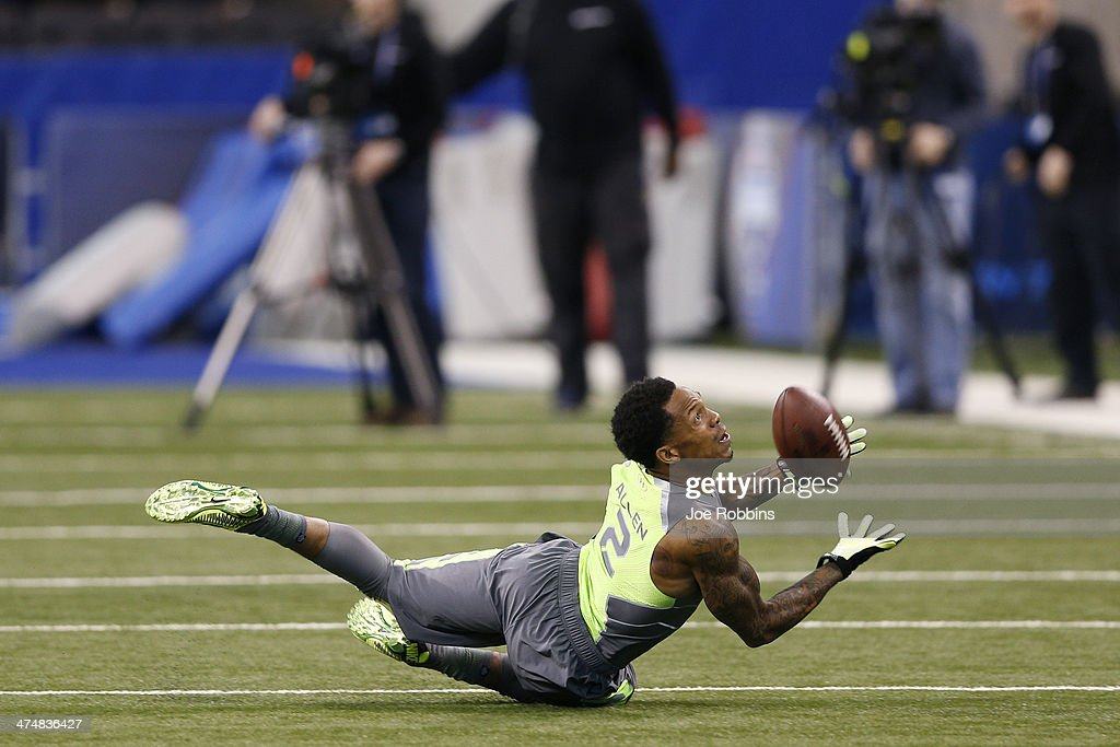 Former Purdue defensive back Ricardo Allen catches the ball while running a drill during the 2014 NFL Combine at Lucas Oil Stadium on February 25, 2014 in Indianapolis, Indiana.