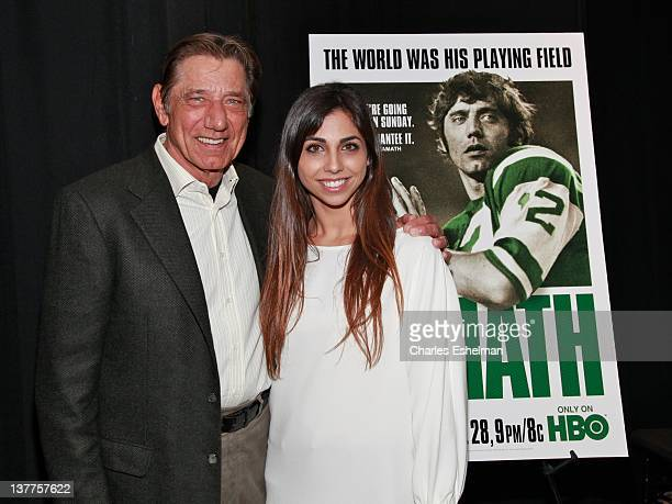 Former quarterback Joe Namath and daughter Jessica Namath attend the premiere of Namath at the HBO Theater on January 25 2012 in New York City