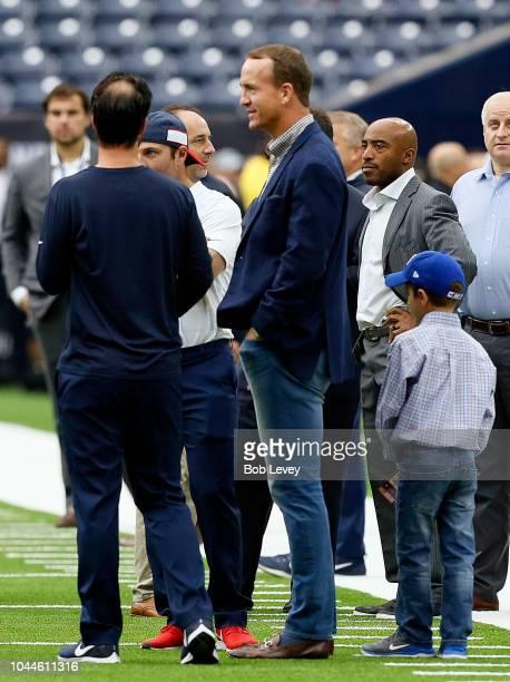 Former quarterback Peyton Manning right on the field at NRG Stadium on September 23 2018 in Houston Texas