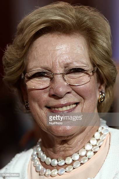 Former Queen AnneMarie of Greece attends an event in honor of the 93 athletes of the Greek mission to the Rio 2016 Olympic Games at Zappeion hall in...