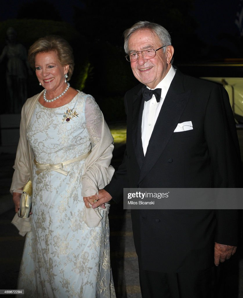 Former Queen Anne-Marie of Greece, Former King Constantine II of Greece, arrive for a private dinner organized by former King Constantine II of Greece and former Queen Anne-Marie to celebrate their Golden wedding anniversary at the Yacht Club of Greece in Piraeus, Greece, 18 September 2014.