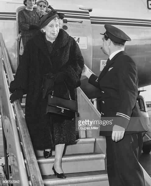 Former Queen Ena of Spain widow of King Alfonso XIII walking down the steps from her aircraft as she arrives in London October 19th 1959