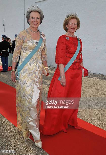 Former Queen of Greece Anne-Mariel and Princess Benedicte of Denmark depart after they attended the wedding between Prince Joachim of Denmark and...