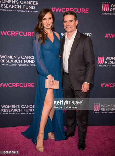 Former racecar driver Jeff Gordon and wife Belgian model Ingrid Vandebosch arrives at the Women's Cancer Research Fund's 'An Unforgettable Evening'...