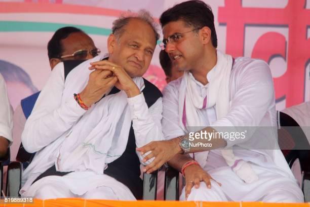 Former Rajasthan Chief Minister Ashok Ghelot with Rajasthan Congress President Sachin Pilot during the 'Kisan Akrosh Rally ' at Banswara in Rajasthan...