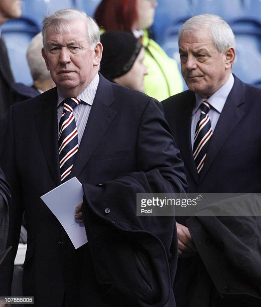 Former Rangers player John Greig and Manager Walter Smith attend the service to commemorate the 40th Anniversary Memorial of the Ibrox Disaster held...