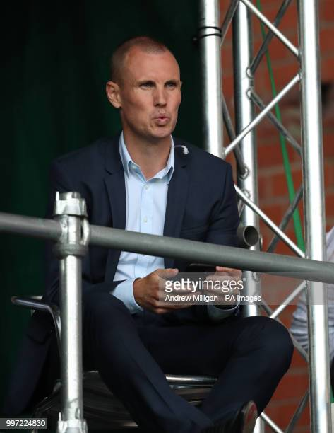 Former Rangers player Kenny Miller in the TV studio during the Europa League Qualifying Round One First Leg match at Ibrox Glasgow