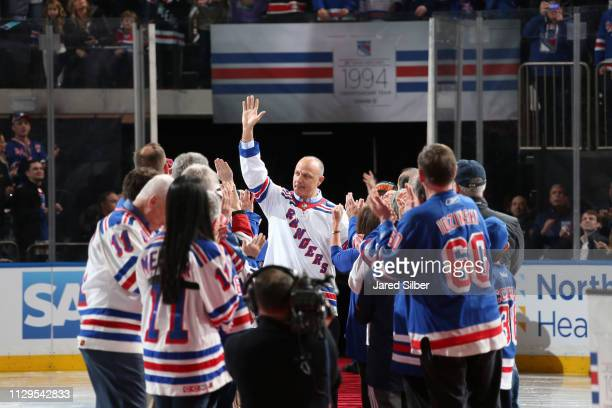Former Rangers player Stephane Matteau is introduced during the 1994 Stanley Cup Anniversary event prior to the game between the New York Rangers and...