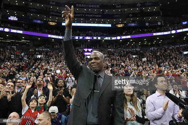 TORONTO MARCH 13 Former Raptor Charles Oakley acknowledges the crowd Toronto Raptors vs Miami Heat in 1st half action of NBA action at Air Canada...