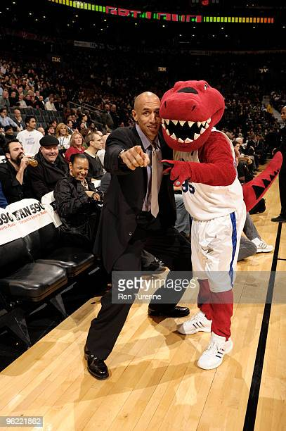 Former Raptor Doug Christie reacquaints himself with the Raptor before the Toronto Raptors game against the Miami Heat on January 27 2010 at the Air...