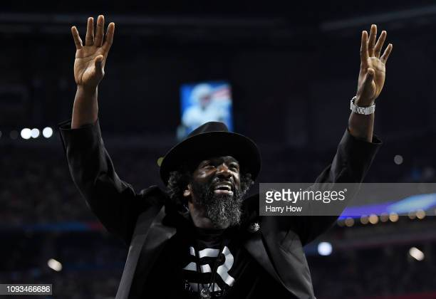 Former Ravens player Ed Reid during Super Bowl LIII between New England Patriots and Los Angeles Rams at MercedesBenz Stadium on February 3 2019 in...