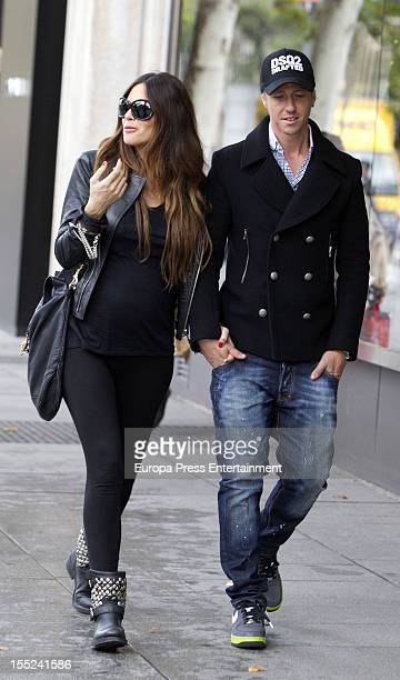 Former Real Madrid football player Guti and his girlfriend Romina Belluscio are seen on November 2 2012 in Madrid Spain