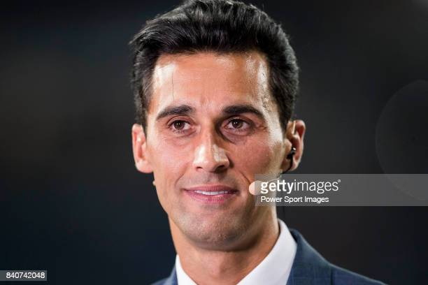 Former Real Madrid player Alvaro Arbeloa prior to the Santiago Bernabeu Trophy 2017 match between Real Madrid and ACF Fiorentina at the Santiago...