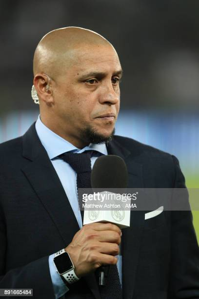 Former Real Madrid player Roberto Carlos looks on prior to the FIFA Club World Cup UAE 2017 semifinal match between Al Jazira and Real Madrid CF at...